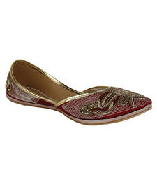 Buy Red Fabric and Leather Ladies footwear bellies-shoe online