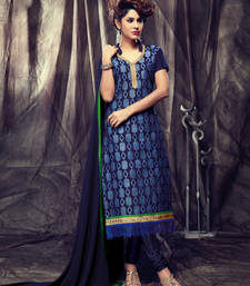 Buy Blue Embroidery Chanderi and Cotton unstitched salwar with dupatta dress-material online