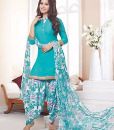 Buy Sky Blue printed crepe unstitched salwar with dupatta punjabi-suit online