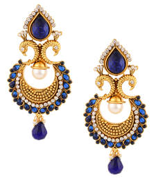 Buy Royal peacock with colourful feathers India ADIVA pearl woman earring danglers-drop online