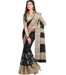 Buy Black printed cotton saree with blouse bhagalpuri-silk-saree online
