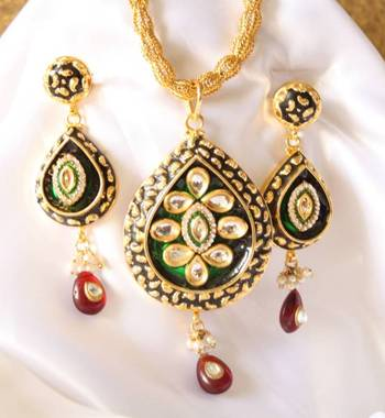 Buy meenakari set kundan polki pearls ethnic trendy traditional meenakari set kundan polki pearls ethnic trendy traditional rajasthani pendant locket earrings jhumka danglers aloadofball Images