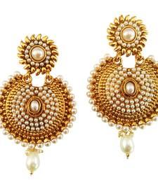 Buy Royal Designer Bollywood Style White Pearl Earrings danglers-drop online