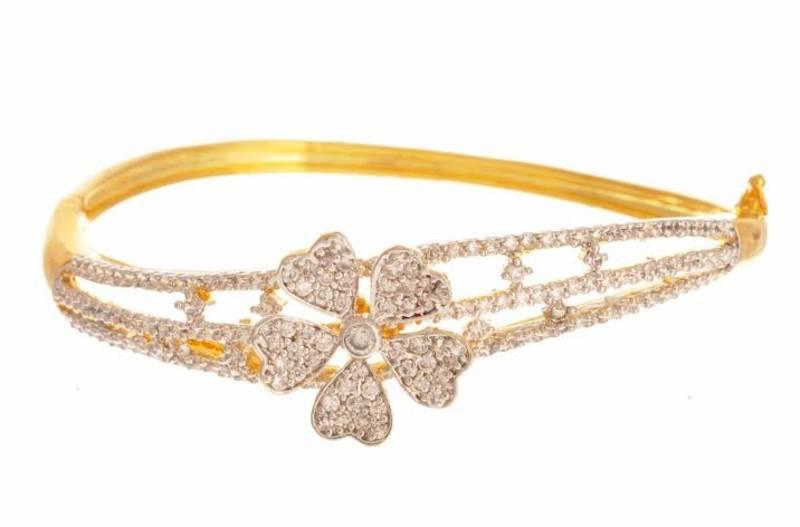 Buy JFL Charismatic Cz Diamond Floral e Gram Gold Plated Kada