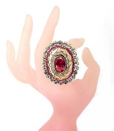Buy light pink kundan cz gold plated adjustable finger ring Ring online