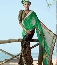 Buy Green and black embroidered thousand butti and net saree with blouse half-saree online