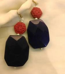 Buy BLUE and WHITE AGATE danglers-drops gemstone-earring online
