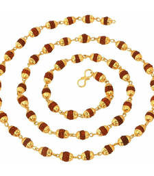Buy Gold Plated Rudraksh Mala Chain Long 24 inches for Men Pendant online