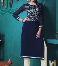 Buy Blue Pure Georgette embroidered kurti kurtas-and-kurtis online