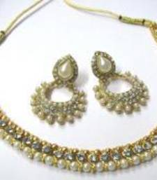 Buy Golden pearl polki necklace set SMC001 necklace-set online