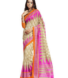 Buy multicolor printed cotton silk saree with blouse party-wear-saree online