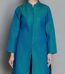Buy Blue Pure Silk Quilted Jacket heavy-work-kurtis online