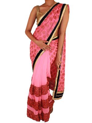 Sweta Sutariya's - Bright Peach half and half saree