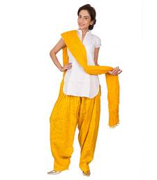 Buy Womens Cottage Yellow leaf printed cotton semi patiala  and  cotton dupatta with beads patialas-pant online