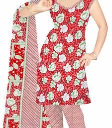 Buy Red printed art silk unstitched salwar with dupatta salwar-kameez-below-300 online
