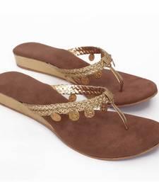 Buy Brown Golden Gini Wedges eid-footwear online
