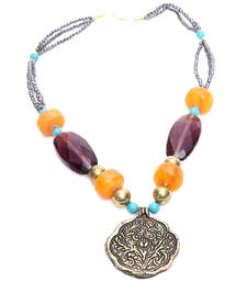Buy Multi-Colored Beads and Stone Embellished Ethnic Necklace collar-necklace online
