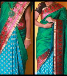 Buy Half  & half silk and brocade saree in beautiful  Peacock shades  silk-saree online
