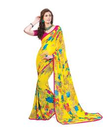 Buy multicolor printed georgette saree with blouse Woman online