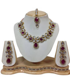 Buy Pink crystal yellow gold necklace sets necklace-set online