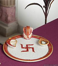 Buy Diwali Puja Thali with GANAPATI Marble Emboss work other-home-accessory online