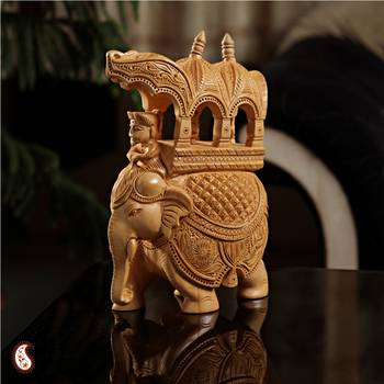Skillfully carved elephant statuette