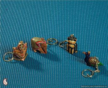 Intricately carved key chain set