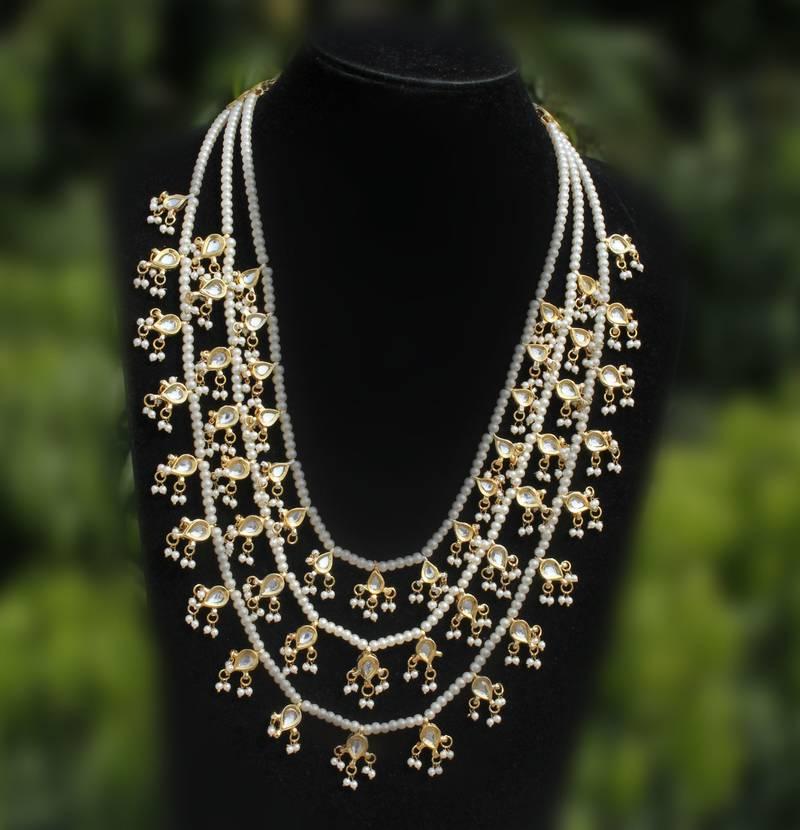 Buy Kundan And Pearl Teenlada Rani Haar Necklace Online