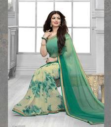 Buy green printed georgette saree with blouse party-wear-saree online