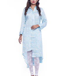 Buy Blue Crepe printed stitched salwar readymade-suit online