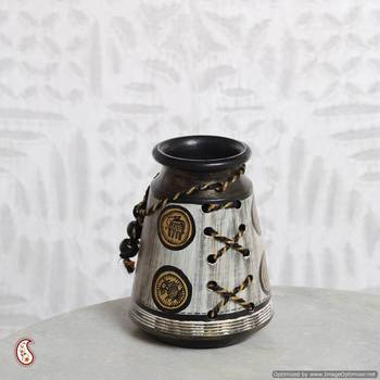 Terracotta flower vase with Warli painting