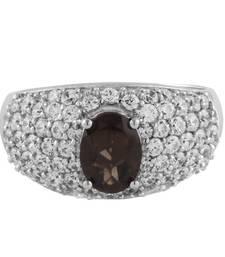 Buy Silver Smokey Quartz Cubic Zirconia Studded Ring Ring online