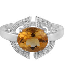 Buy Citrine With Cubic Zirconia Silver Ring Crafted Ring online