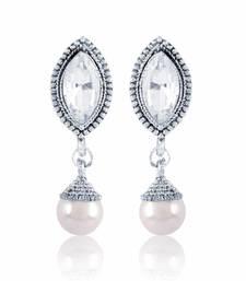 Buy Gold Finishing White Pearl Drop Earrings hoop online
