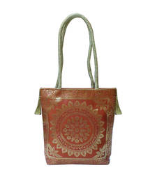 Buy Cute Shaped Silk Gold Kissed Benarasi Handbag (Light Brown) handbag online