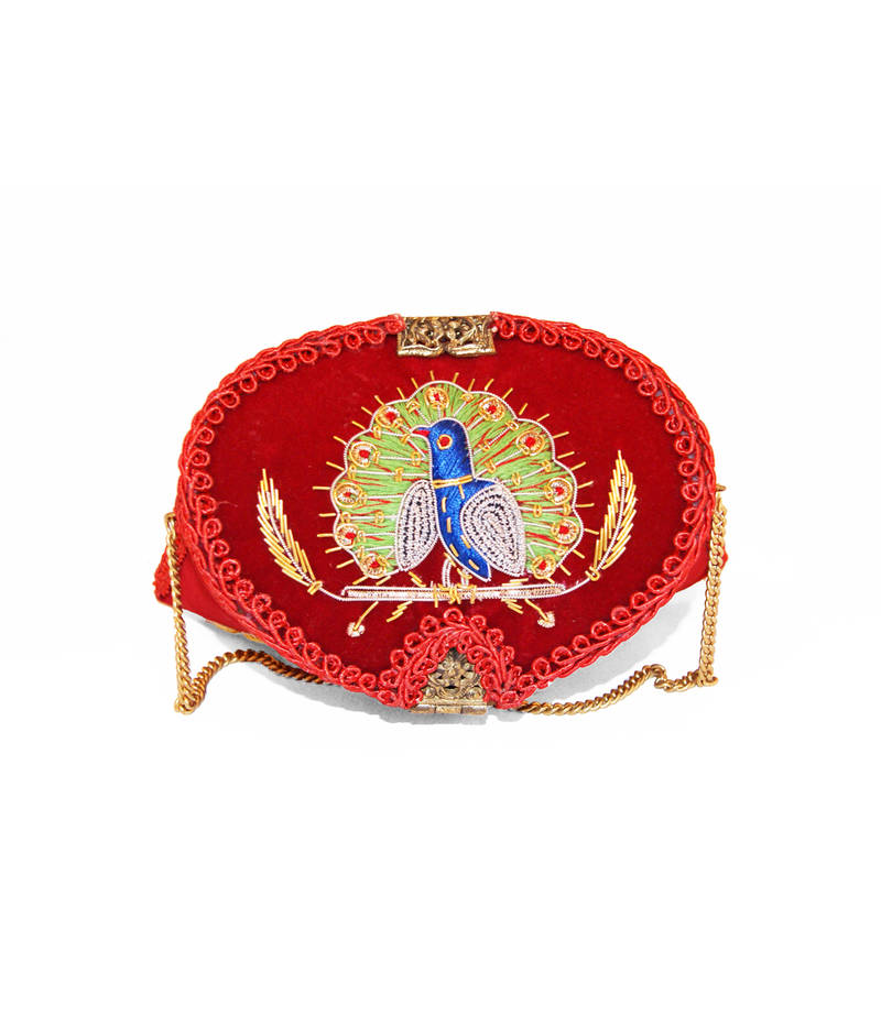 Buy red brass and velvet embroidered clutches online
