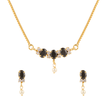 Black cubic zirconia yellow gold pendants