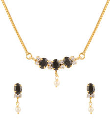 Buy Black cubic zirconia yellow gold pendants Pendant online