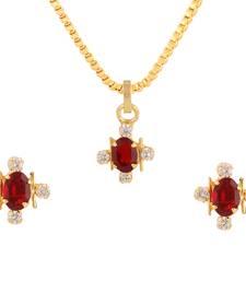 Buy Maroon cubic zirconia yellow gold pendants Pendant online