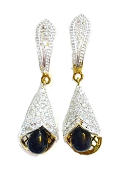 Divinique Black pearl  AD party earrings