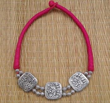 pink silver antique choker
