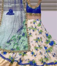 Buy White and Blue Bhagalpuri silk embroidered semi stitiched salwar with dupatta anarkali-salwar-kameez online