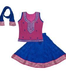 Buy Pink and Blue Cotton lehnaga choli with blouse cotton-lehenga online