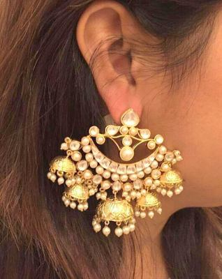 beautiful kundan chandbali jhumka pair