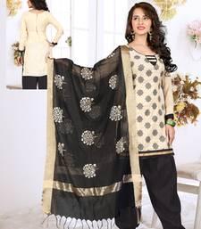 Buy Cream jute embroidered unstitched salwar with dupatta punjabi-suit online