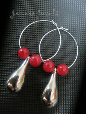 Gorgeous Red Silver Drop Earrings