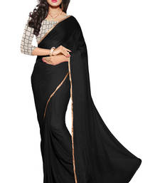 Buy  Black Colour Nazmin Plain Saree With Net Embroiered Work Unstitched Blouse  other-saree online