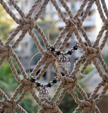 black ethnic jhumki hoops