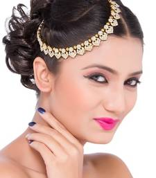 Buy Exclusive Fashion Design Matha Patti For Wedding Gold Finishing in White hair-accessory online