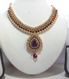 Buy Purple pearl dulhan necklace set necklace-set online